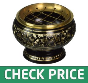 New Age Imports Decorated Brass Incense Burner